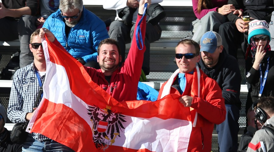 BEAVER CREEK,COLORADO,USA,07.DEC.14 - ALPINE SKIING - FIS World Cup, giant slalom men. Image shows fans from AUT with a flag. Photo: GEPA pictures/ Andreas Pranter