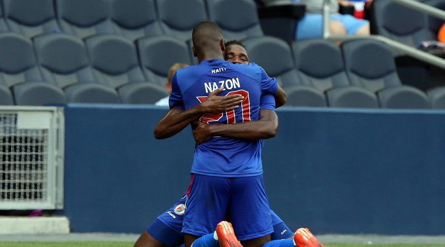 13 July 2015: Haiti s Duckens Nazon (HAI) (20) celebrates his goal with Kervens Belfort (HAI) (behind). The Haiti Men s national team Nationalteam played the Honduras Men s National Team at Sporting Park in Kansas City, Kansas in a 2015 CONCACAF Gold Cup Group A match. SOCCER: JUL 13 CONCACAF Gold Cup - Group Stage - Haiti v Honduras PUBLICATIONxINxGERxSUIxAUTxHUNxRUSxSWExNORxONLY Icon918150713002