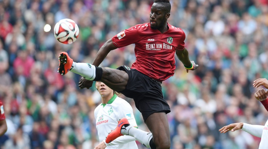 HANNOVER,GERMANY,09.MAY.15 - SOCCER - 1. DFL, 1. Deutsche Bundesliga, Hannover 96 vs SV Werder Bremen. Image shows Salif Sane (Hannover). Photo: GEPA pictures/ Witters/ Tim Groothuis - ATTENTION - COPYRIGHT FOR AUSTRIAN CLIENTS ONLY