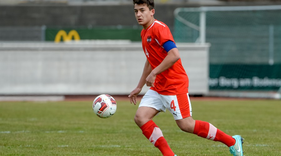 BREGENZ,AUSTRIA,25.MAR.15 - SOCCER - OEFB Under-18 international match, Austria vs Finland, friendly match. Image shows Marco Krainz (AUT). Photo: GEPA pictures/ Oliver Lerch