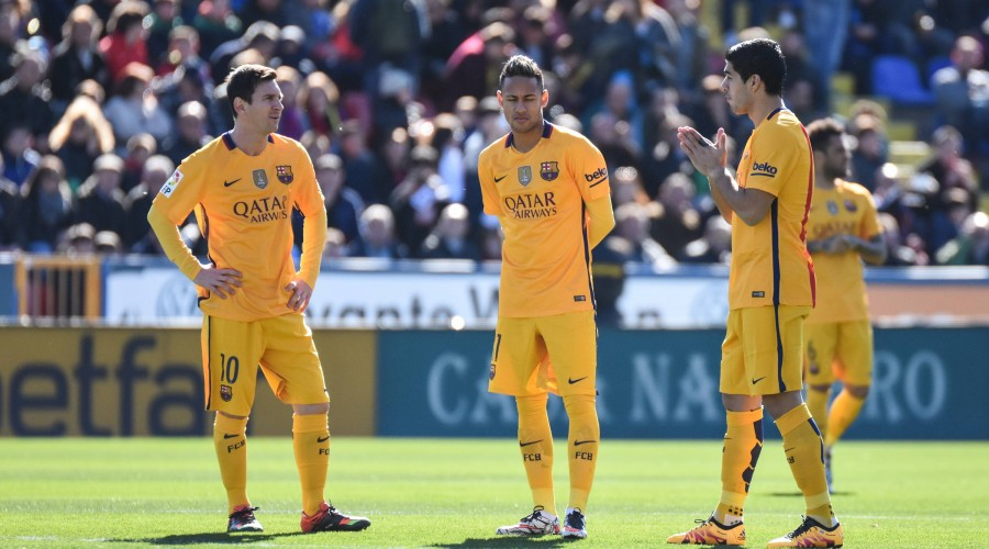 FC Barcelona Barca s Lionel Messi, Neymar and Luis Suarez during La Liga match. February 7, 2016. PUBLICATIONxINxGERxSUIxAUTxPOLxDENxNORxSWExONLY (2016020701)