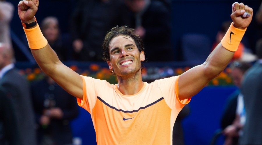 BARCELONA, SPAIN - APRIL 24: Rafael Nadal of Spain celebrates defeating Kei Nishikori of Japan in the final match during day seven of the Barcelona Open Banc Sabadell at the Real Club de Tenis Barcelona on April 24, 2016 in Barcelona, Spain. (Photo by Alex Caparros/Getty Images)
