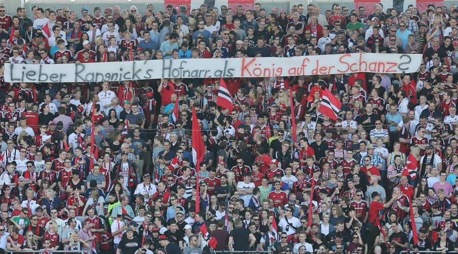 Fans gegen Ralph Hasenhuettl, Trainer Ing Wechsel nach Leipzig, Fussballfans, supporters, spectators, Zuschauer, Jacke, Kutte, Weste, Fankurve FC INGOLSTADT - FC BAYERN MUENCHEN Fussball 1. Bundesliga , Ingolstadt, am 07.05.2016 , 33.Spieltag, Saison 2015/2016, 1.Liga, 1.Bundesliga, FCB