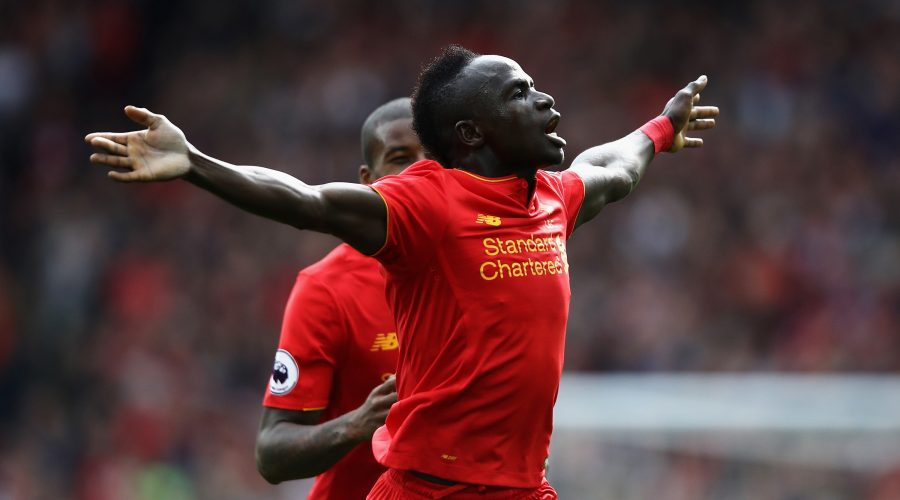 LIVERPOOL, ENGLAND - SEPTEMBER 24: Sadio Mane of Liverpool celebrates scoring his sides third goal during the Premier League match between Liverpool and Hull City at Anfield on September 24, 2016 in Liverpool, England.  (Photo by Julian Finney/Getty Images)