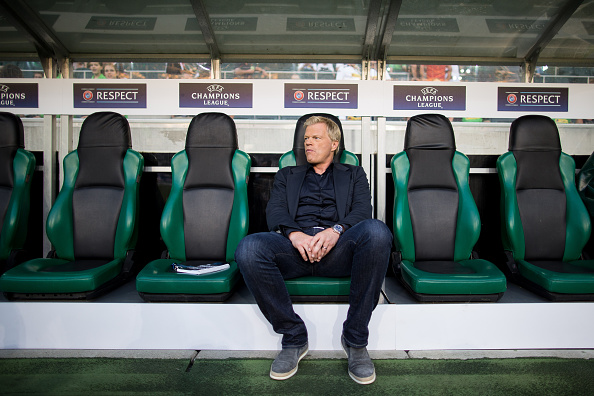 MOENCHENGLADBACH, GERMANY - AUGUST 24: Oliver Kahn, former goalkeeper of Bayern Muenchen sits prior the UEFA Champions League Qualifying Play-Offs Round: Second Leg between Borussia Moenchengladbach and YB Bern at Borussia-Park on August 24, 2016 in Moenchengladbach, Germany. (Photo by Maja Hitij/Bongarts/Getty Images)