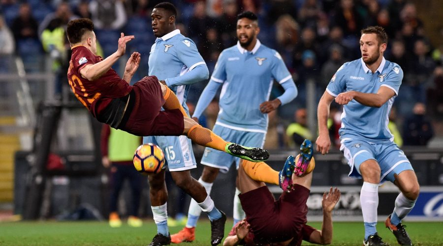 March 1, 2017 - Rome, Italy - Stephan El Shaarawy of AS Roma attempts to score during the Italian Cup semifinal match between Lazio and Roma at Stadio Olimpico, Rome, Italy on 1 March 2017. Lazio v Roma - Italian Cup PUBLICATIONxINxGERxSUIxAUTxONLY - ZUMAn230 20170301_zaa_n230_365 Copyright: xGiuseppexMaffiax