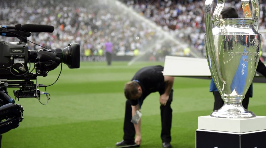 A TV camera takes images of the UEFA Champions League trophy before the UEFA Champions League semifinal first leg football match Real Madrid CF vs Club Atletico de Madrid at the Santiago Bernabeu stadium in Madrid, on May 2, 2017. / AFP PHOTO / JAVIER SORIANO        (Photo credit should read JAVIER SORIANO/AFP/Getty Images)