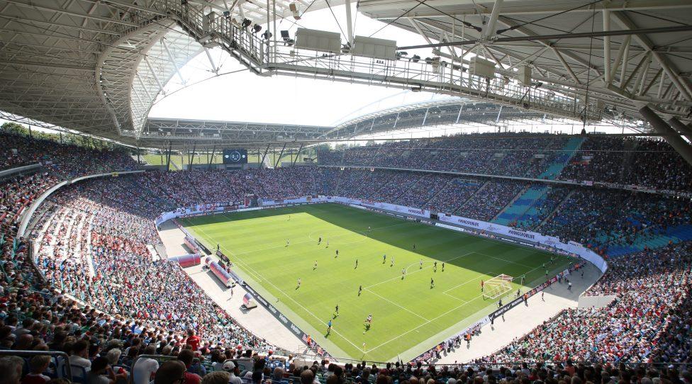 LEIPZIG,GERMANY,23.AUG.15 - SOCCER - 2. DFL, 2. Deutsche Bundesliga, RasenBallsport Leipzig vs FC Sankt Pauli. Image shows an overview of the Red Bull Arena. Photo: GEPA pictures/ Roger Petzsche