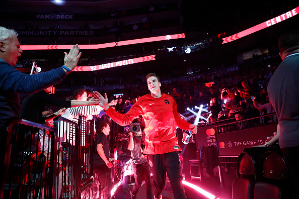 TORONTO, CANADA - OCTOBER 19:  Jakob Poeltl #42 of the Toronto Raptors gets introduced before the game against the Chicago Bulls on October 19, 2017 at the Air Canada Centre in Toronto, Ontario, Canada. NOTE TO USER: User expressly acknowledges and agrees that, by downloading and or using this Photograph, user is consenting to the terms and conditions of the Getty Images License Agreement.  Mandatory Copyright Notice: Copyright 2017 NBAE (Photo by Mark Blinch/NBAE via Getty Images)