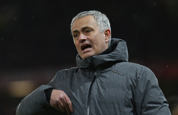 MANCHESTER, ENGLAND - DECEMBER 10:  Manager Jose Mourinho of Manchester United watches from the touchline during the Premier League match between Manchester United and Manchester City at Old Trafford on December 10, 2017 in Manchester, England.  (Photo by John Peters/Man Utd via Getty Images)