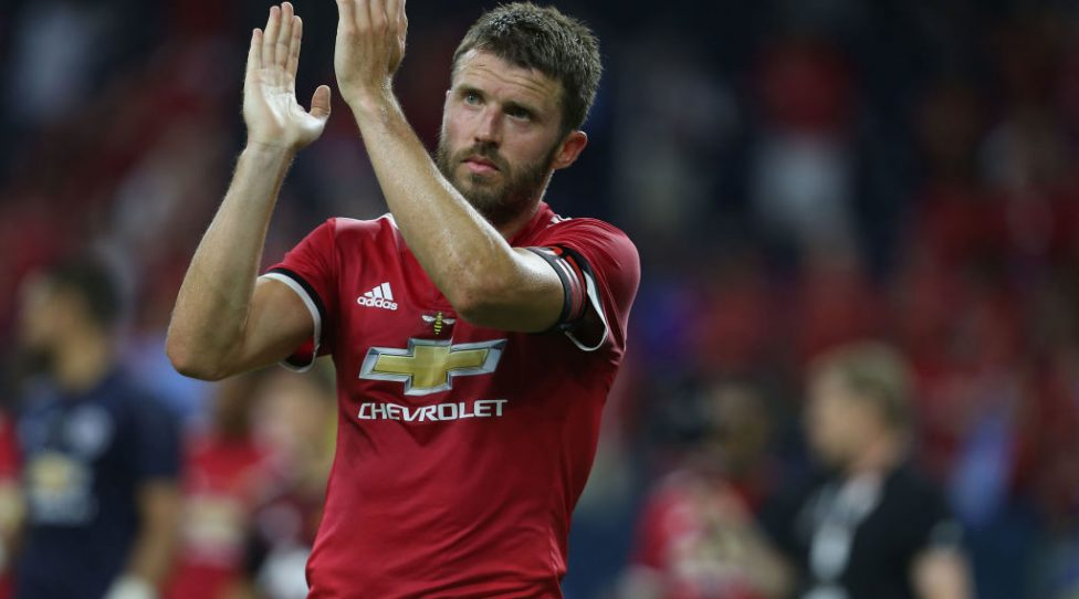 HOUSTON, TX - JULY 20:  Michael Carrick of Manchester United applauds the fans after the pre-season friendly International Champions Cup 2017 match between Manchester United and Manchester City at NRG Stadium on July 20, 2017 in Houston, Texas.  (Photo by Matthew Peters/Man Utd via Getty Images)