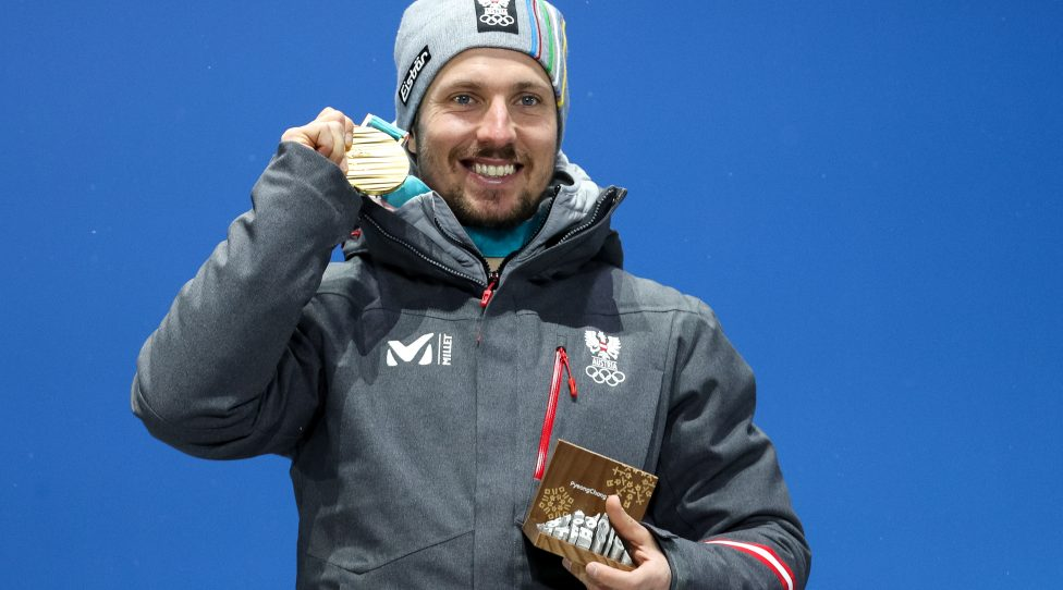 PYEONGCHANG,SOUTH KOREA.13.FEB.18 - OLYMPICS,ALPINE SKIING - Olympic Winter Games PyeongChang 2018, Medals Plaza, Alpine Combined, Men, award ceremony. Image shows Marcel Hirscher (AUT). Keywords: medal. Photo: GEPA pictures/ Matic Klansek