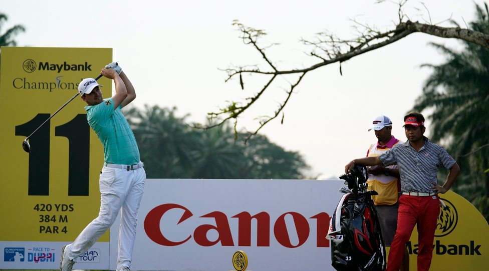 KUALA LUMPUR, MALAYSIA - FEBRUARY 01:  Bernd Wiesberger of Austria in action during day one of the 2018 Maybank Championship at Saujana Golf and Country Club on February 1, 2018 in Kuala Lumpur, Malaysia.  (Photo by Stanley Chou/Getty Images)