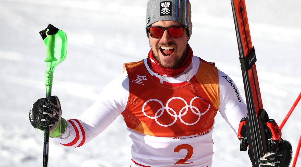 PYEONGCHANG-GUN, SOUTH KOREA - FEBRUARY 13:  Marcel Hirscher of Austria celebrates winning gold at the finish during the Men's Alpine Combined Slalom on day four of the PyeongChang 2018 Winter Olympic Games at Jeongseon Alpine Centre on February 13, 2018 in Pyeongchang-gun, South Korea.  (Photo by Ezra Shaw/Getty Images)