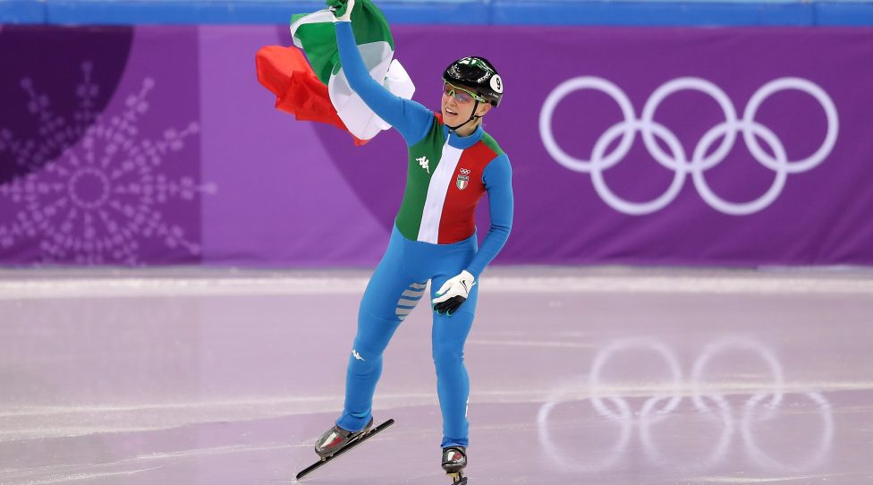 GANGNEUNG, SOUTH KOREA - FEBRUARY 13:  Arianna Fontana of Italy celebrates after winning the gold medal in the Ladies' 500m Short Track Speed Skating final on day four of the PyeongChang 2018 Winter Olympic Games at Gangneung Ice Arena on February 13, 2018 in Gangneung, South Korea.  (Photo by Richard Heathcote/Getty Images)