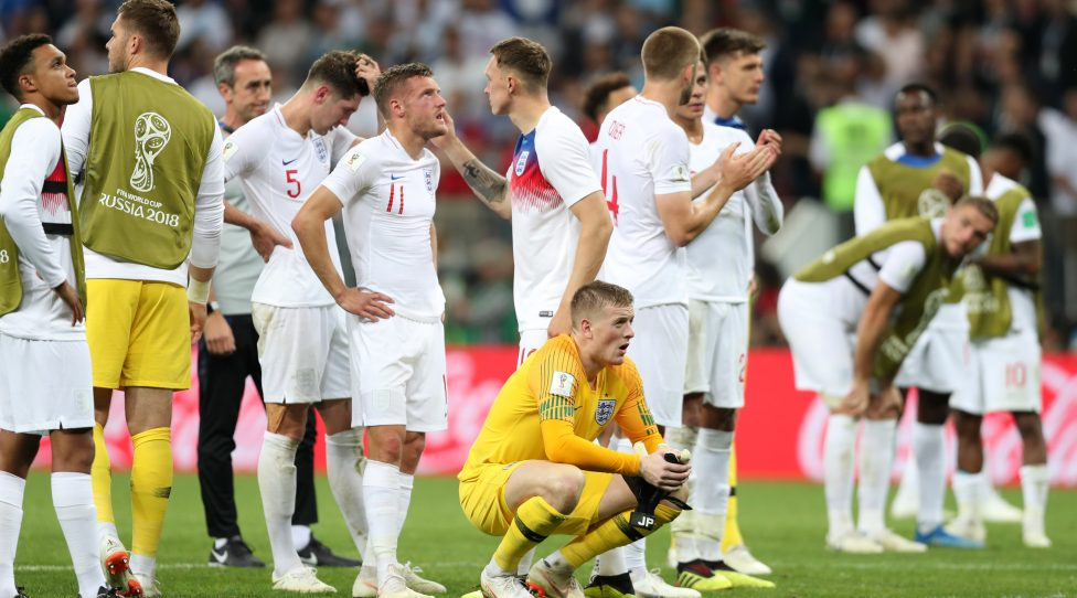 MOSCOW, RUSSIA - JULY 11:  Players of England show their dejection following the 2018 FIFA World Cup Russia Semi Final match between England and Croatia at Luzhniki Stadium on July 11, 2018 in Moscow, Russia.  (Photo by Clive Rose/Getty Images)