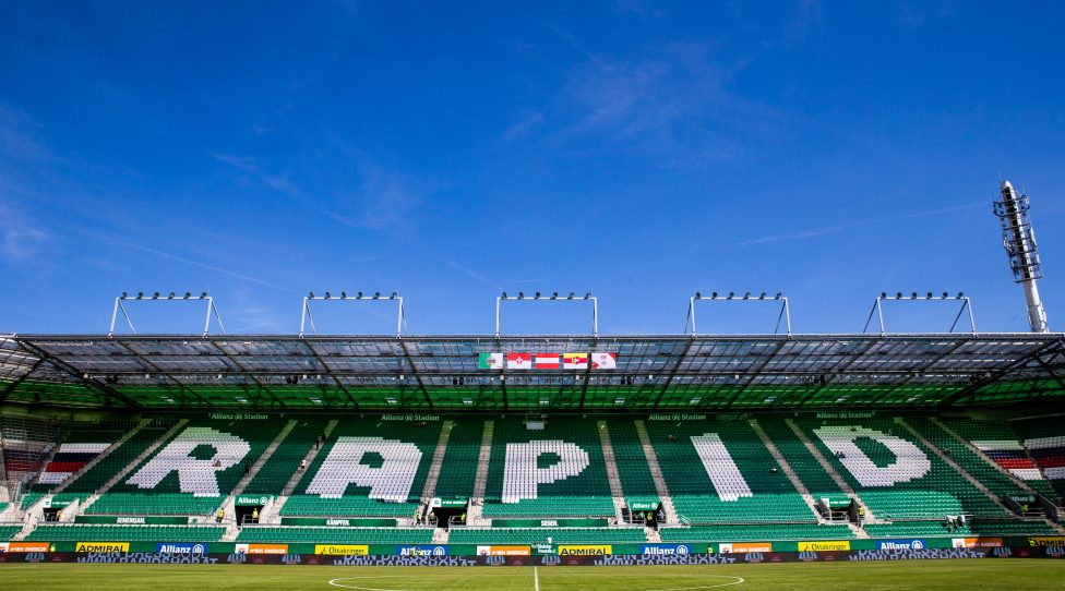 VIENNA,AUSTRIA,12.AUG.18 - SOCCER - tipico Bundesliga, SK Rapid Wien vs WAC Wolfsberg. Image shows a tribune in the Allianz Stadium. Keywords: Wien Energie. Photo: GEPA pictures/ Philipp Brem
