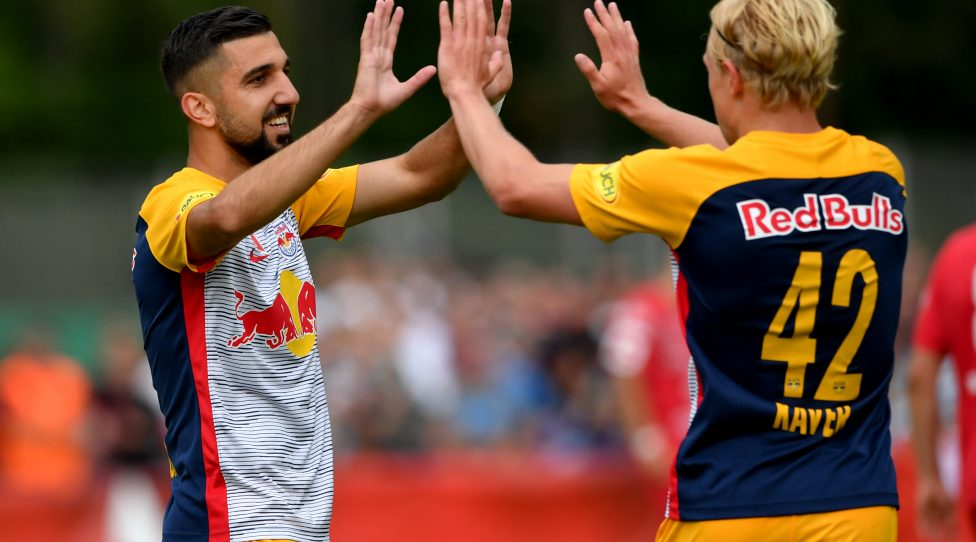 OEDT,AUSTRIA,22.JUL.18 - SOCCER - UNIQA OEFB Cup, ASKOE Oedt vs Red Bull Salzburg. Image shows the rejoicing of Munas Dabbur and Xaver Schlager (RBS). Photo: GEPA pictures/ Florian Ertl