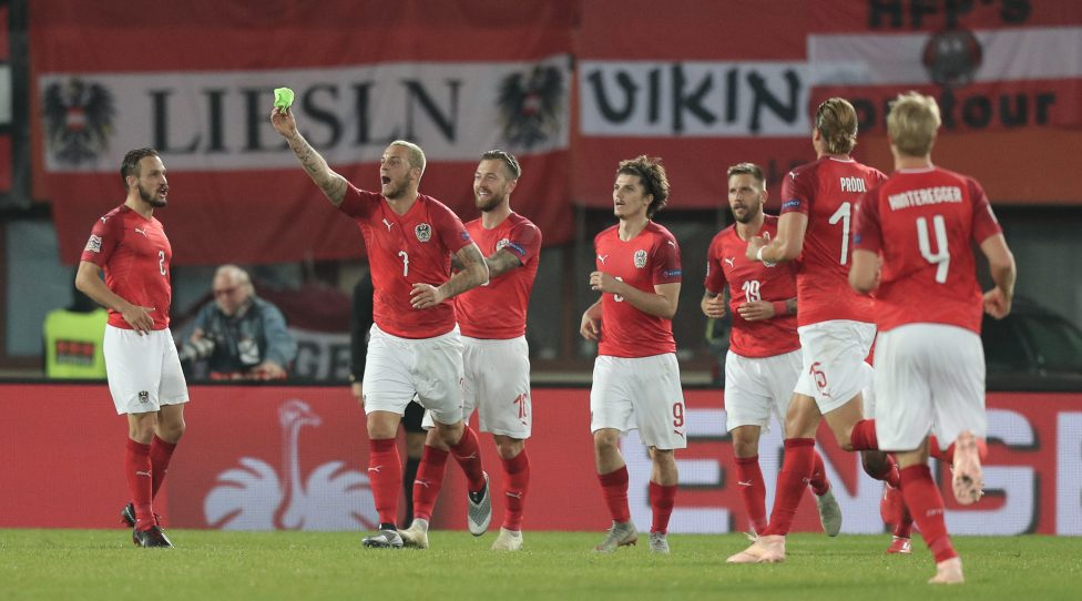 VIENNA,AUSTRIA,12.OCT.18 - SOCCER -  UEFA Nations League, OEFB international match, Austria vs Northern Ireland. Image shows the rejoicing of Andreas Ulmer (AUT), Marko Arnautovic (AUT), Peter Zulj (AUT), Marcel Sabitzer (AUT), Guido Burgstaller (AUT) and Martin Hinteregger (AUT). Photo: GEPA pictures/ Christian Ort