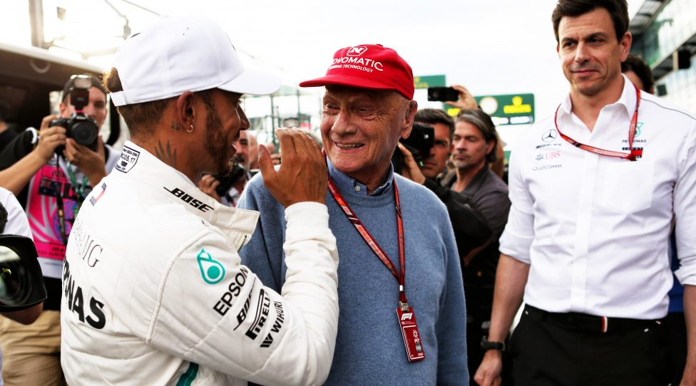 MELBOURNE,AUSTRALIA,24.MAR.18 - MOTORSPORTS, FORMULA 1 - Grand Prix of Australia, Albert Park Circuit, training and qualification. Image shows Lewis Hamilton (GBR/ Mercedes), executive chairman Niki Lauda and executive director Toto Wolff (Mercedes). Photo: GEPA pictures/ XPB Images/ Batchelor - ATTENTION - COPYRIGHT FOR AUSTRIAN CLIENTS ONLY