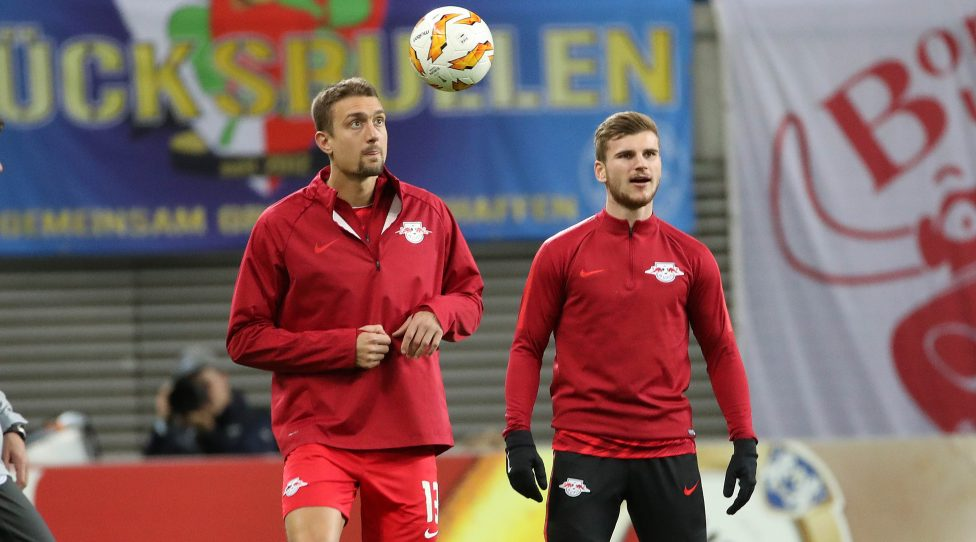 LEIPZIG,GERMANY,25.OCT.18 - SOCCER - UEFA Europa League, group stage, RasenBallsport Leipzig vs Celtic FC Glasgow. Image shows Stefan Ilsanker and Timo Werner (RB Leipzig). Photo: GEPA pictures/ Sven Sonntag