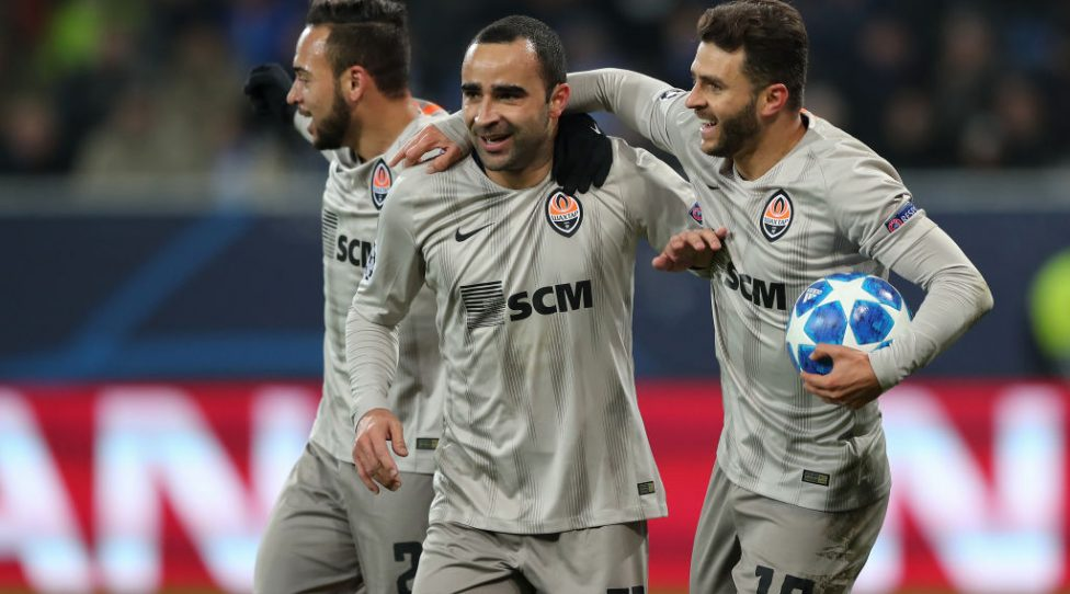 SINSHEIM, GERMANY - NOVEMBER 27:  Ismaily of FC Shakhtar Donetsk celebrates his team`s first goal with his teammates Maycon of FC Shakhtar Donetsk and Junior Moraes of FC Shakhtar Donetsk during the Group F match of the UEFA Champions League between TSG 1899 Hoffenheim and FC Shakhtar Donetsk at Wirsol Rhein-Neckar-Arena on November 27, 2018 in Sinsheim, Germany. (Photo by Christian Kaspar-Bartke/Bongarts/Getty Images)