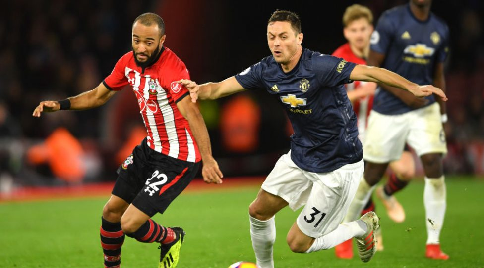SOUTHAMPTON, ENGLAND - DECEMBER 01:  Nathan Redmond of Southampton and Nemanja Matic of Manchester United compete for the ball during the Premier League match between Southampton FC and Manchester United at St Mary's Stadium on December 1, 2018 in Southampton, United Kingdom.  (Photo by Mike Hewitt/Getty Images)