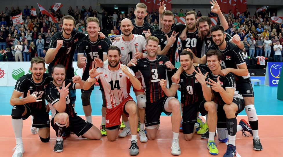 GRAZ,AUSTRIA,05.JAN.19 - VOLLEYBALL - EuroVolley 2019, qualification, men, Austria vs Albania. Image shows the rejoicing of Austria. Photo: GEPA pictures/ Michael Riedler