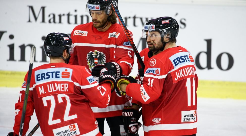 KLAGENFURT,AUSTRIA,08.FEB.19 - ICE HOCKEY - Oesterreich Cup, international match, Austria vs France. Image shows the rejoicing of Martin Ulmer, Thomas Raffl, Dominique Heinrich and Daniel Jakubitzka (AUT). Photo: GEPA pictures/ Daniel Goetzhaber