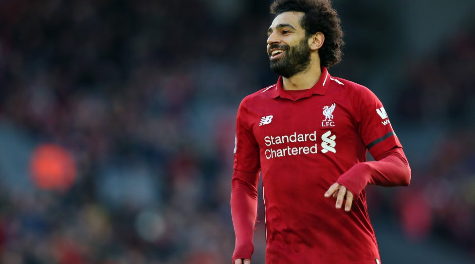 LIVERPOOL, ENGLAND - FEBRUARY 09:  Mohamed Salah of Liverpool reacts during the Premier League match between Liverpool FC and AFC Bournemouth at Anfield on February 9, 2019 in Liverpool, United Kingdom.  (Photo by Alex Livesey/Getty Images)