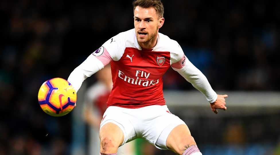 MANCHESTER, ENGLAND - FEBRUARY 03: Aaron Ramsey of Arsenal in action during the Premier League match between Manchester City and Arsenal FC at Etihad Stadium on February 03, 2019 in Manchester, United Kingdom. (Photo by Clive Mason/Getty Images)