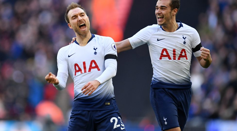 LONDON, ENGLAND - FEBRUARY 10:  Christian Eriksen of Tottenham Hotspur celebrates his goal during the Premier League match between Tottenham Hotspur and Leicester City at Wembley Stadium on February 10, 2019 in London, United Kingdom. (Photo by Justin Setterfield/Getty Images)