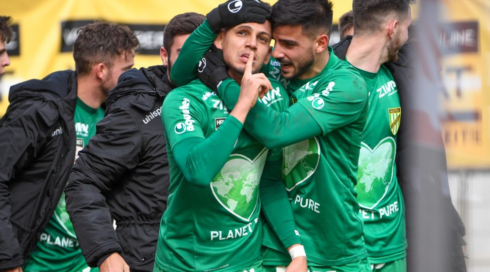 LUSTENAU,AUSTRIA,10.MAR.19 - SOCCER - Zweite Liga, SC Austria Lustenau vs SV Horn. Image shows the rejoicing of William Rodrigues de Freitas,Firat Tuncer and Marcel Canadi (A.Lustenau). Photo: GEPA pictures/ Oliver Lerch