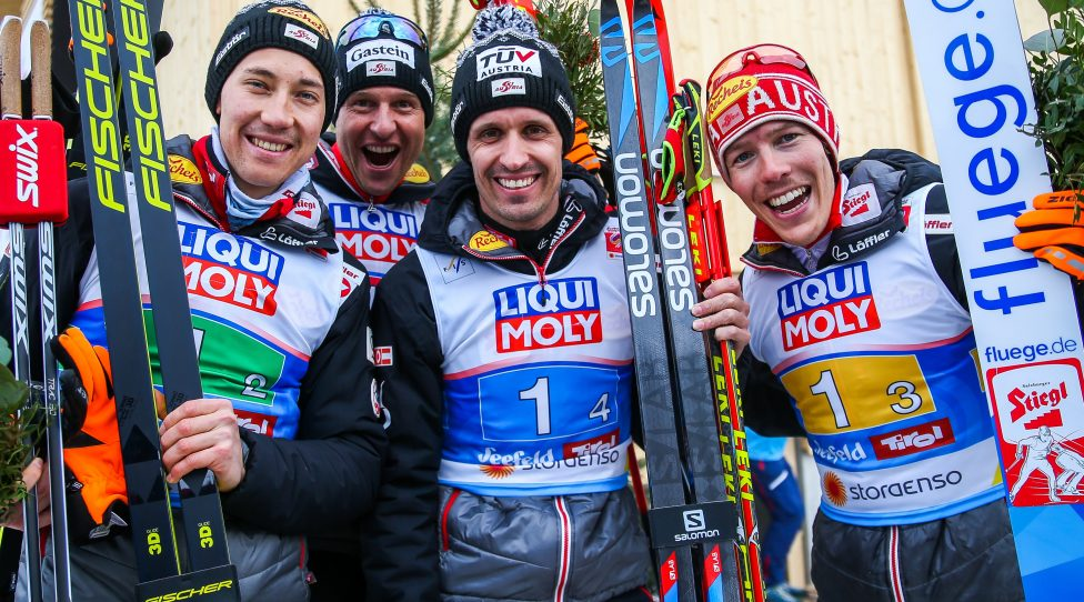 SEEFELD,AUSTRIA,02.MAR.19 - NORDIC SKIING, NORDIC COMBINED, CROSS COUNTRY - FIS Nordic World Ski Championships, team event, 4x5km. Image shows Mario Seidl (AUT), Bernhard Gruber (AUT), Lukas Klapfer (AUT) and Franz-Josef Rehrl (AUT). Photo: GEPA pictures/ Philipp Brem
