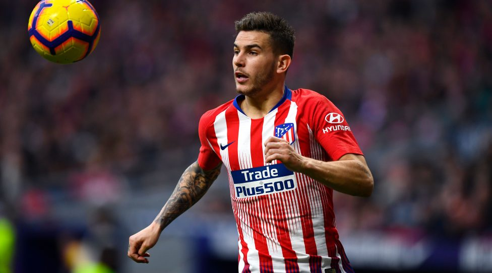 Atletico Madrid's French defender Lucas Hernandez controls the ball during the Spanish league football match between Club Atletico de Madrid and Real Madrid CF at the Wanda Metropolitano stadium in Madrid on February 9, 2019. (Photo by GABRIEL BOUYS / AFP)        (Photo credit should read GABRIEL BOUYS/AFP/Getty Images)