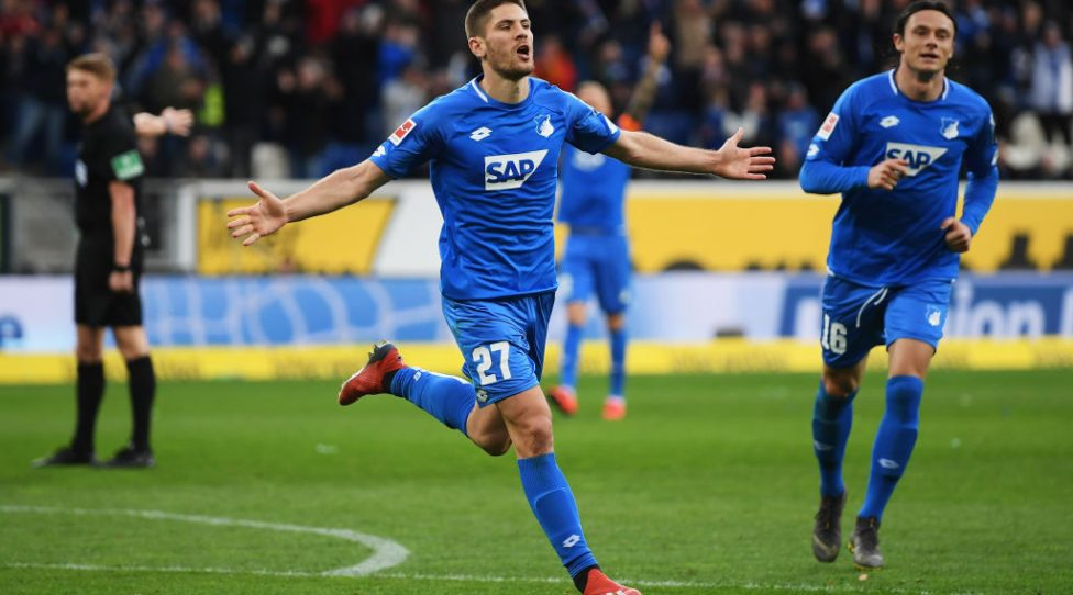 SINSHEIM, GERMANY - MARCH 10: Andrej Kramaric of 1899 Hoffenhein celebrates scoring his teams second goal of the game during the Bundesliga match between TSG 1899 Hoffenheim and 1. FC Nuernberg at PreZero-Arena on March 10, 2019 in Sinsheim, Germany. (Photo by Matthias Hangst/Bongarts/Getty Images)