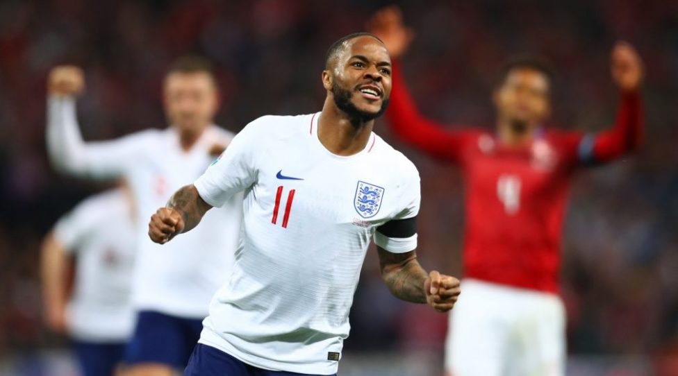 LONDON, ENGLAND - MARCH 22:  Raheem Sterling of England celebrates as he scores his team's fourth goal and completes his hat trick during the 2020 UEFA European Championships Group A qualifying match between England and Czech Republic at Wembley Stadium on March 22, 2019 in London, United Kingdom. (Photo by Clive Rose/Getty Images)