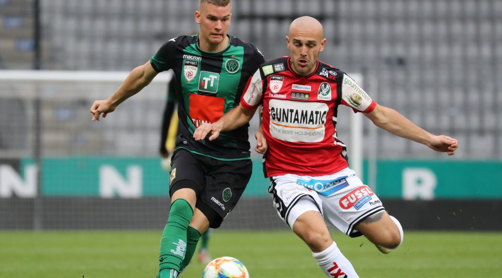 INNSBRUCK,AUSTRIA,03.MAI.19 - SOCCER - Zweite Liga, FC Wacker Innsbruck II vs SV Ried. Image shows Elvin Ibrisimovic (Wacker II) and Lukas Grgic (Ried). Photo: GEPA pictures/ Andreas Pranter