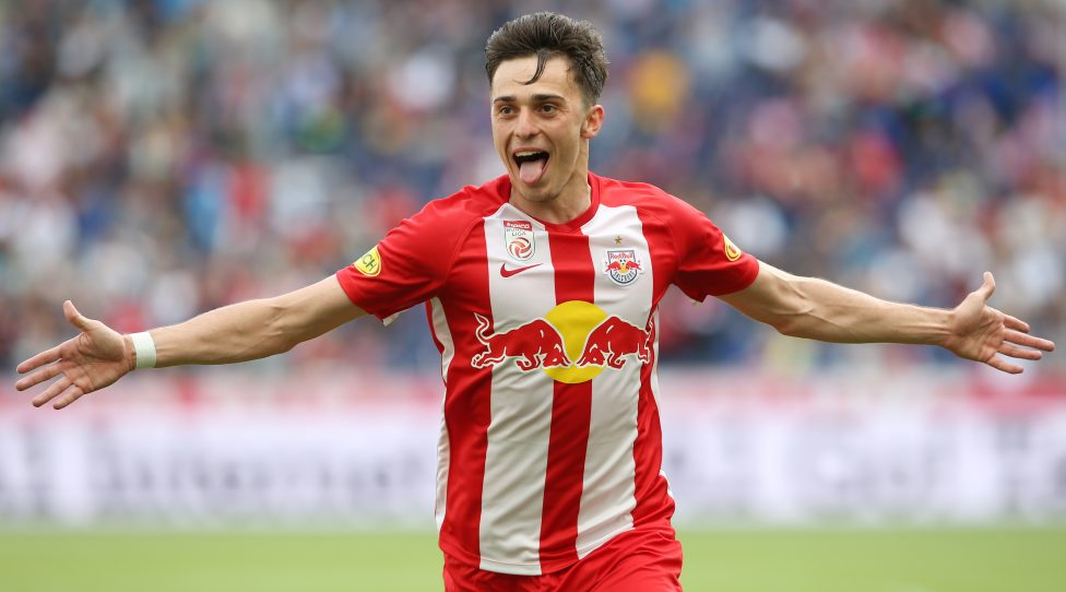 SALZBURG,AUSTRIA,26.MAY.19 - SOCCER - tipico Bundesliga, championship group, Red Bull Salzburg vs SKN Sankt Poelten. Image shows the rejoicing of Albert Vallci (RBS). Photo: GEPA pictures/ Mathias Mandl
