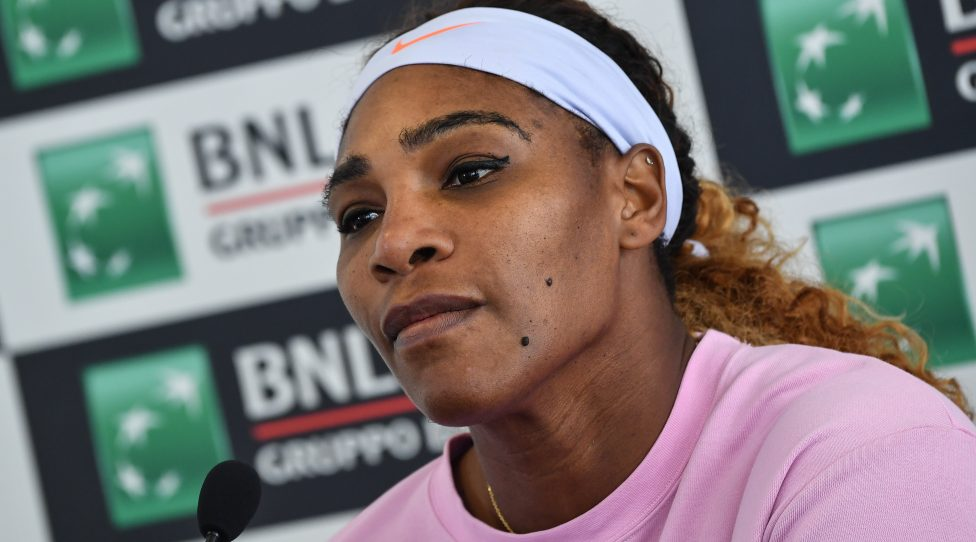 Serena Williams of the US looks on during a press conference, after winning her WTA Masters tournament tennis match against Sweden's Rebecca Peterson, at the Foro Italico in Rome, on May 13, 2019. (Photo by Andreas SOLARO / AFP)        (Photo credit should read ANDREAS SOLARO/AFP/Getty Images)
