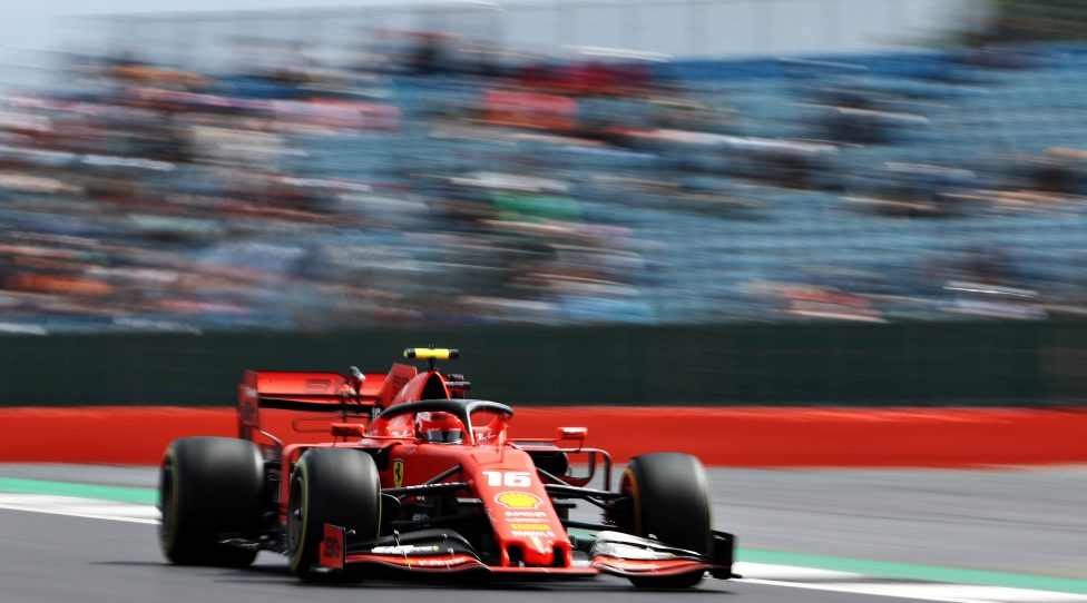 NORTHAMPTON, ENGLAND - JULY 12: Charles Leclerc of Monaco driving the (16) Scuderia Ferrari SF90 on track during practice for the F1 Grand Prix of Great Britain at Silverstone on July 12, 2019 in Northampton, England. (Photo by Bryn Lennon/Getty Images)