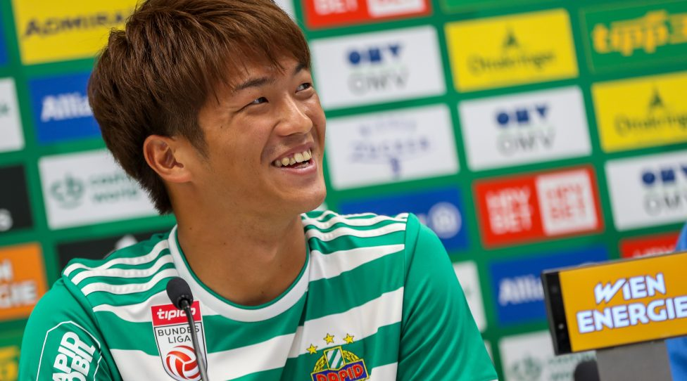 VIENNA,AUSTRIA,31.JUL.19 - SOCCER - tipico Bundesliga, SK Rapid Wien, press conference, presentation of Koya Kitagawa. Image shows Koya Kitagawa (Rapid). Keywords: Wien Energie. Photo: GEPA pictures/ Philipp Brem