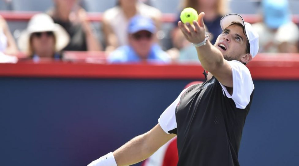 MONTREAL, QC - AUGUST 08:  Dominic Thiem of Austria serves the ball against Marin Cilic of Croatia during day 7 of the Rogers Cup at IGA Stadium on August 8, 2019 in Montreal, Quebec, Canada.  Dominic Thiem of Austria defeated Marin Cilic of Croatia 7-6, 6-4.  (Photo by Minas Panagiotakis/Getty Images)