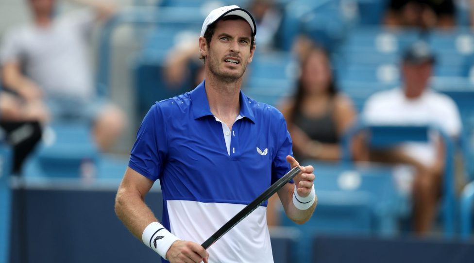 MASON, OHIO - AUGUST 12: Andy Murray of Great Britain looks on against Richard Gasquet of France during Day 3 of the Western and Southern Open at Lindner Family Tennis Center on August 12, 2019 in Mason, Ohio. (Photo by Rob Carr/Getty Images)