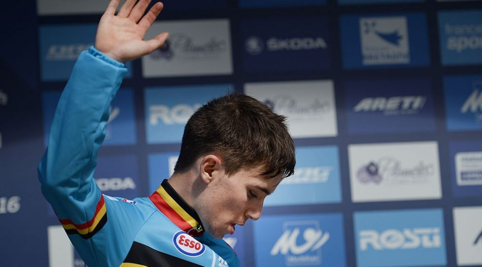 Second-placed Belgian Bjorg Lambrecht waves on the podium after the Men's U23 Race of the 2016 UEC Road European Championship on September 17, 2016 in Plumelec, western France.  Belarusian Aleksander Riabushenko won the race. / AFP / JEAN-SEBASTIEN EVRARD        (Photo credit should read JEAN-SEBASTIEN EVRARD/AFP/Getty Images)