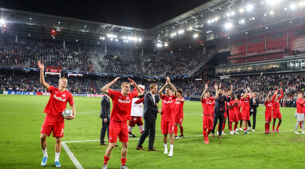 SALZBURG,AUSTRIA,17.SEP.19 - SOCCER - UEFA Champions League, group stage, Red Bull Salzburg vs KRC Genk. Image shows rejoicing of RBS. Photo: GEPA pictures/ Patrick Steiner