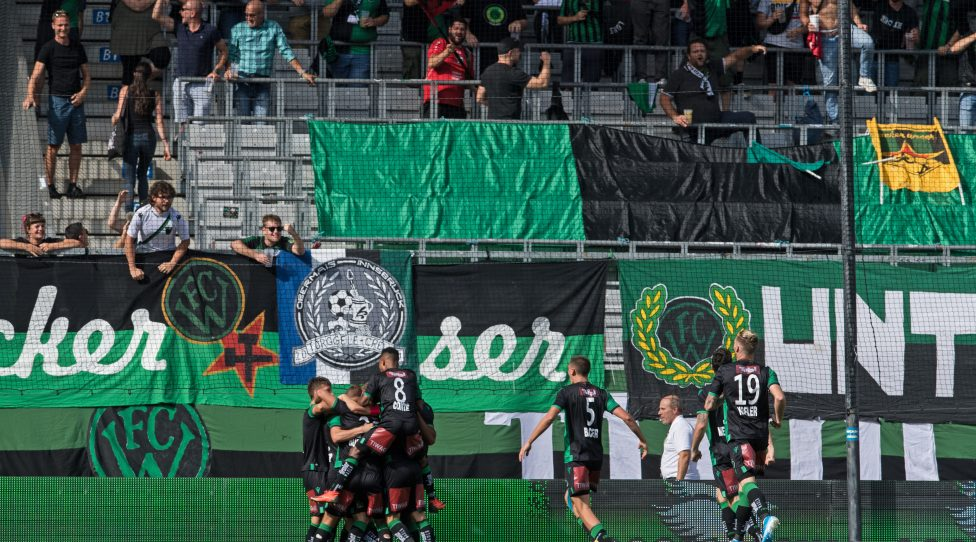 INNSBRUCK,AUSTRIA,14.SEP.19 - SOCCER - HYPBET 2. Liga, FC Wacker Innsbruck vs GAK 1902. Image shows the recoicing of Wacker. Photo: GEPA pictures/ Hans Osterauer