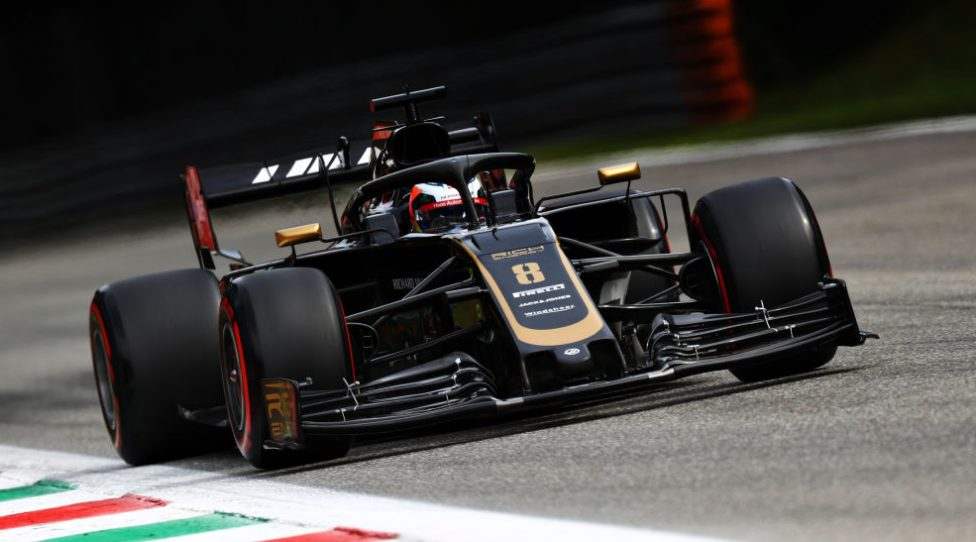 MONZA, ITALY - SEPTEMBER 07: Romain Grosjean of France driving the (8) Haas F1 Team VF-19 Ferrari on track during final practice for the F1 Grand Prix of Italy at Autodromo di Monza on September 07, 2019 in Monza, Italy. (Photo by Mark Thompson/Getty Images)