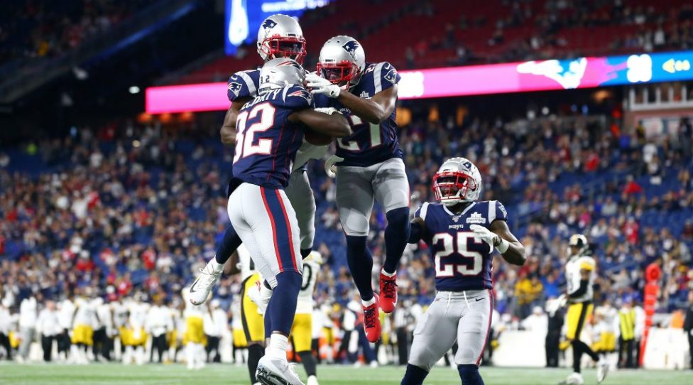 FOXBOROUGH, MASSACHUSETTS - SEPTEMBER 08: Devin McCourty #32 of the New England Patriots celebrates with teammates after intercepting a pass during the fourth quarter against the Pittsburgh Steelers at Gillette Stadium on September 08, 2019 in Foxborough, Massachusetts. (Photo by Maddie Meyer/Getty Images)