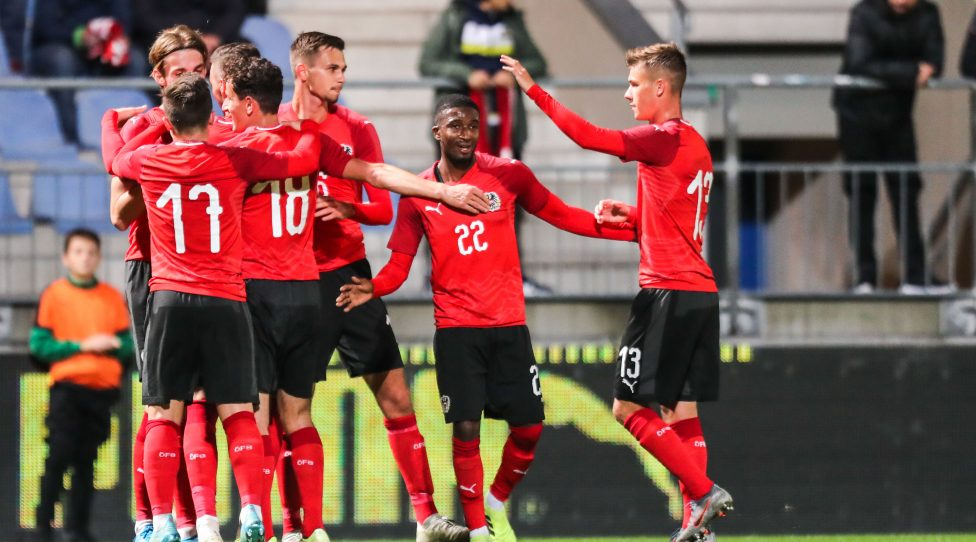 VIENNA,AUSTRIA,11.OCT.19 - SOCCER - UEFA Under-21 European Championship, qualification, OEFB international match, Austria vs Turkey. Image shows the rejoicing of AUT. Photo: GEPA pictures/ Michael Meindl